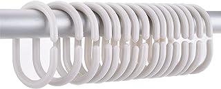 36 Pièces Anneaux de Rideau de Douche Blanc Anneaux de Rideaux C Crochets de Rideaux (Blanc)