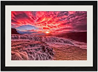 Fast Flowing Rivers and Red Clouds - Art Print Wall Black Wood Grain Framed Picture(24x16inches)