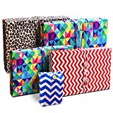 Gift Wrap Pack - Stretchy Fabric, Reusable and Eco Friendly - Celebration (5 Pack 2 Medium, 2 Small, 1 Gift Card Holder with 1 FREE Gift Tag)
