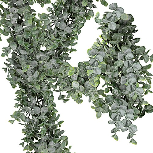Supla 8.7' L 5.9' W Artificial Eucalyptus Garland Greenery Garland Fake Hanging Eucalyptus Leaves Plants Vine for Wedding Table Backdrop Arch Rustic Farmhouse Christmas Mantle Baby Shower Party Decor