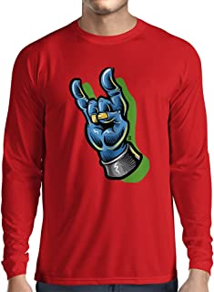 lepni.me Long Sleeve t Shirt Men Zombie Hand A Rock and Roll Symbol, Sign of The Horns, Heavy Metal Sign