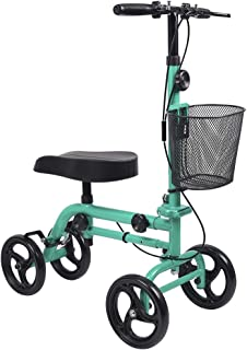 Knee Scooter, Give Me Steerable Knee Walker Crutch Alternative with Basket and Dual Hand Brake (Green)