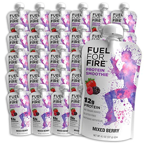 Fuel For Fire - Mixed Berry (24 Pack) Fruit & Protein Smoothie Squeeze Pouch | Perfect for Workouts, Kids, Snacking - Gluten-Free, Soy-Free, Kosher (4.5 ounce pouches)
