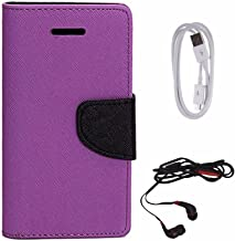 Avzax Diary Look Flip Wallet Case Cover for Micromax A106 Unite 2 (Purple) + Data Cable + in Ear Headphone