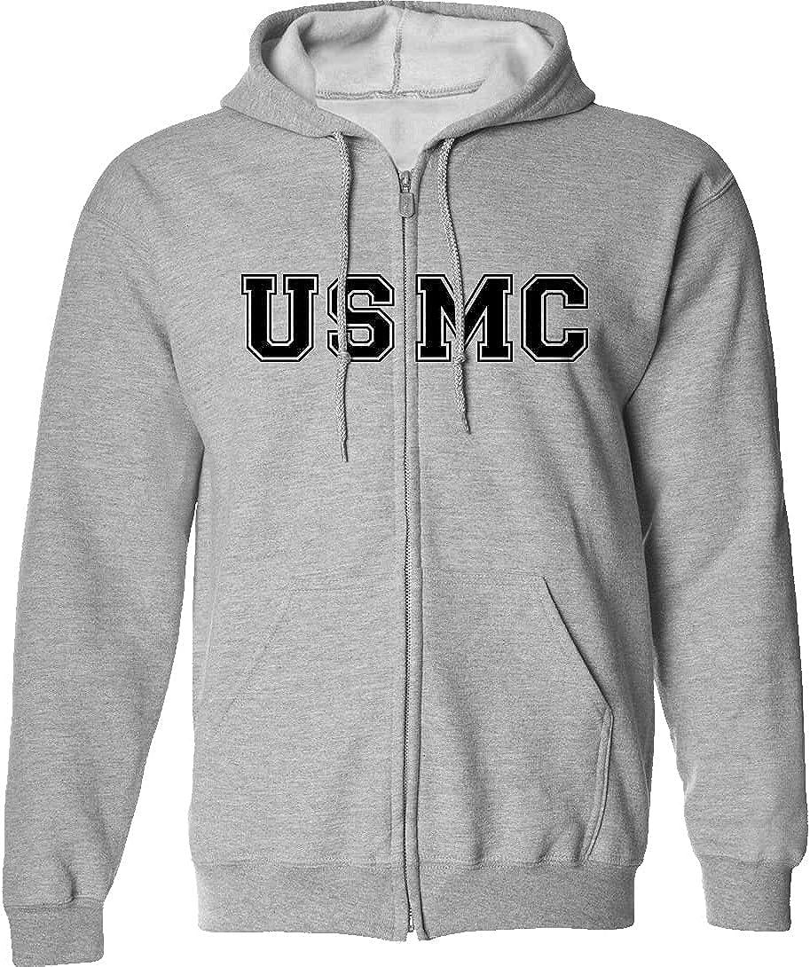 USMC Full-Zip List price Hooded in Gray Max 49% OFF Sweatshirt