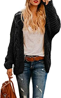 a7bfadf195e Womens Cable Knit Open Front Plus Size Cardigan Sweaters Long Boyfriend  Chunky Cardigans