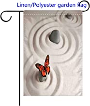 RLDSESS Double Sided Festival Garden Flag Butterflies Zen Rock on The Sand Butterfly Serenity Life Cycle Nature Welcome Decorative Garden Flags-Weather Resistant-Double Stitched-Polyester 12x18 inch
