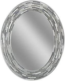 Headwest Reeded Charcoal Oval Tiles Wall Mirror, 23 inches by 29 inches, 23