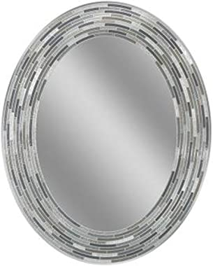 "Headwest Reeded Charcoal Oval Tiles Wall Mirror, 23 inches by 29 inches, 23"" x 29"""