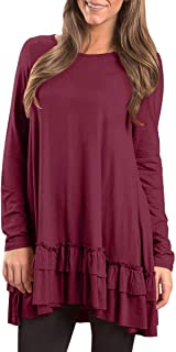 Women Long Sleeve Ruffle Hem Swing Tunic Tops