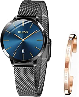 OLEVS Wrist Watches for Women Fashion Waterproof Rose Gold Steel Strip Analog Quartz Wristwatch Gifts for Ladies