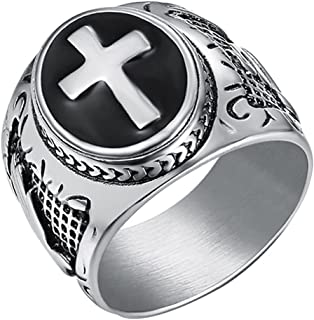 JAJAFOOK Jewelry Silver Stainless Steel Christian Holy Cross Ring for Men's Rings (14)