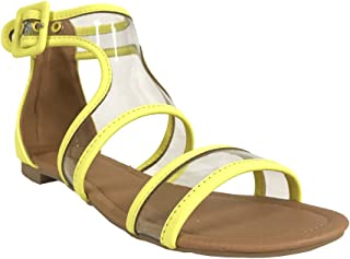 Qupid ALANIS-81 Women's Translucent Buckle Ankle Cuff Flat Gladiator Sandals