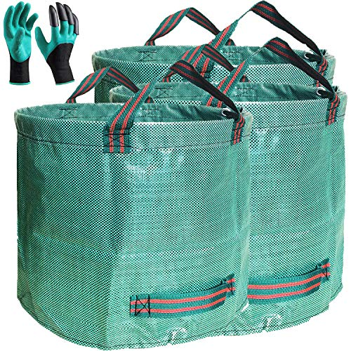Professional 3-Pack 80 Gallons Lawn Garden Bag Leaf Waste Bags (D26, H33 inches) with Coated Gardening Gloves,Reuseable Heavy Duty Patio Bags,Grass Pool Bags,Home Yard Trash Bags with 4 Handles