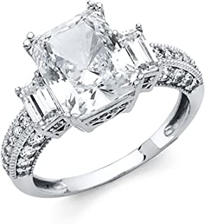 Universal Jewels 14K Engagement Ring in Solid White Gold 3.5 Ct Princess Cut Solitaire Cubic Zirconia Baguette Side Stones