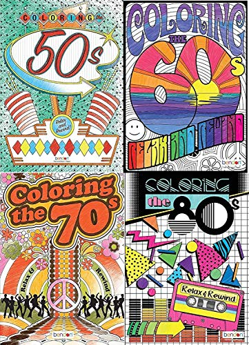 Advanced Coloring Book 4 Pack by Decades (50s, 60s, 70s and 80s)