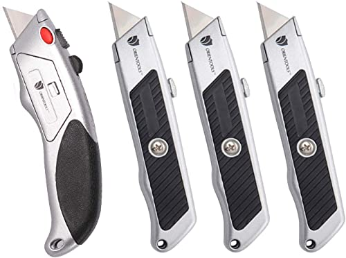 popular ORIENTOOLS Utility Knife Safety Heavy Duty high quality Box Cutter, 3 outlet online sale Pack Utility Knives + 1 Pack Auto-Load Box Cutter (6 Blades Included) online