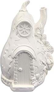 Gourd Fairy House Ready to Paint Ceramic Bisque - Handmade in The USA (Plain)
