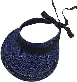 Straw Hat Beach Hat Round Cap Summer Shade Sunscreen Empty Top Basin Cap Women,D