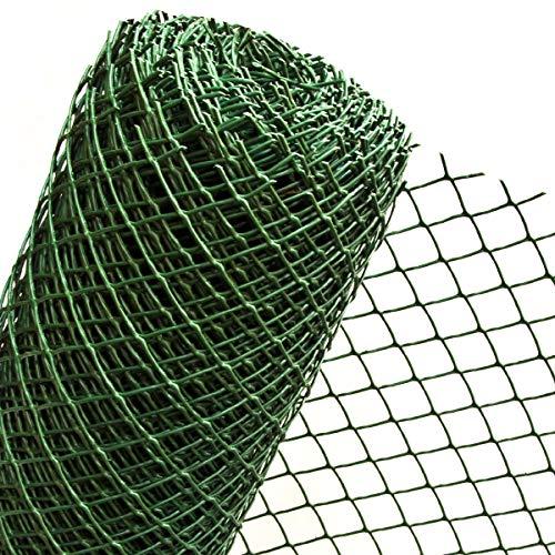 Valla de plástico de 1,5 m² en 1,5 m de ancho, para fijación de gancho, valla de jardín, malla de 50 mm, color verde oscuro RO5/150HD