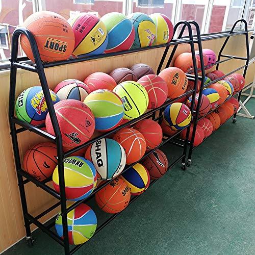 TMGY Basketball Racks for Balls with Wheels,Iron Basketball Display Stand Equipment,Ball Cart Ball Racks for Garage Ball Holder,Volleyball Sports Ball Storage Ball Organizer(Black,4-Tier,35 Balls)