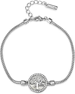 Mestige Women Glass Maple Tree of Life Bracelet with Swarovski Crystals