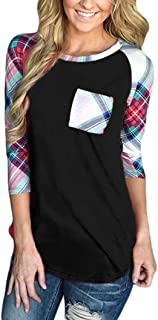 T Shirts for Womens, FORUU Casual Striped 3/4 Sleeve Pocket Block Blouses Tops