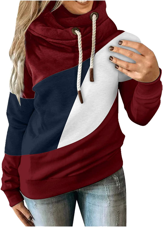 Womens Color Block Hooded Sweatshirt Fashion Long Sleeve Hoodies Drawstring Casual Pullover Tops Winter Shirts