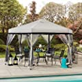Sunjoy Jenessa 11x11 ft. 2-Tone Pop Up Portable Hexagon Steel Gazebo, Gray & Black