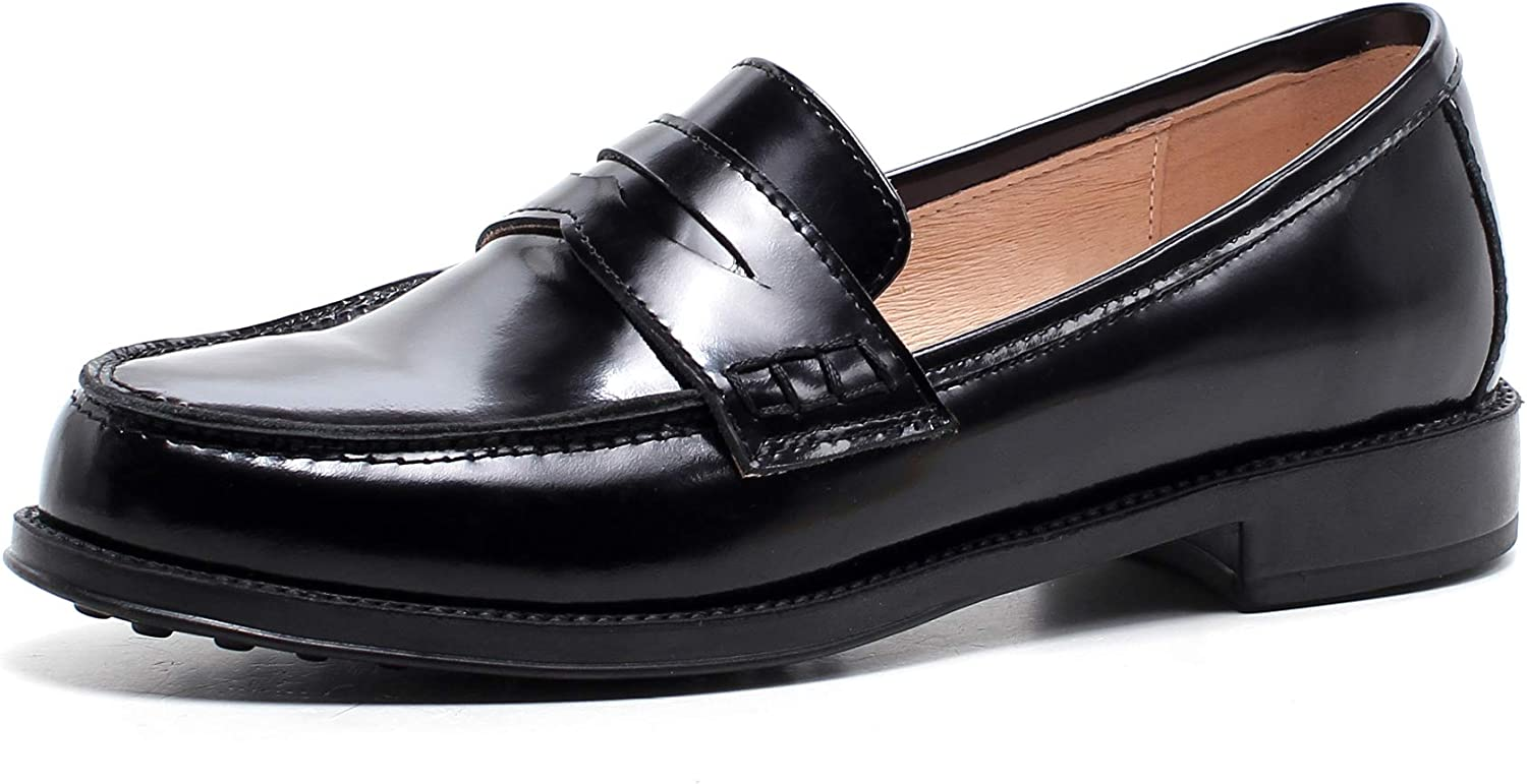 LEEPO Women's Leather Penny Loafer shoes Slip On Round Toe Flats Dress shoes