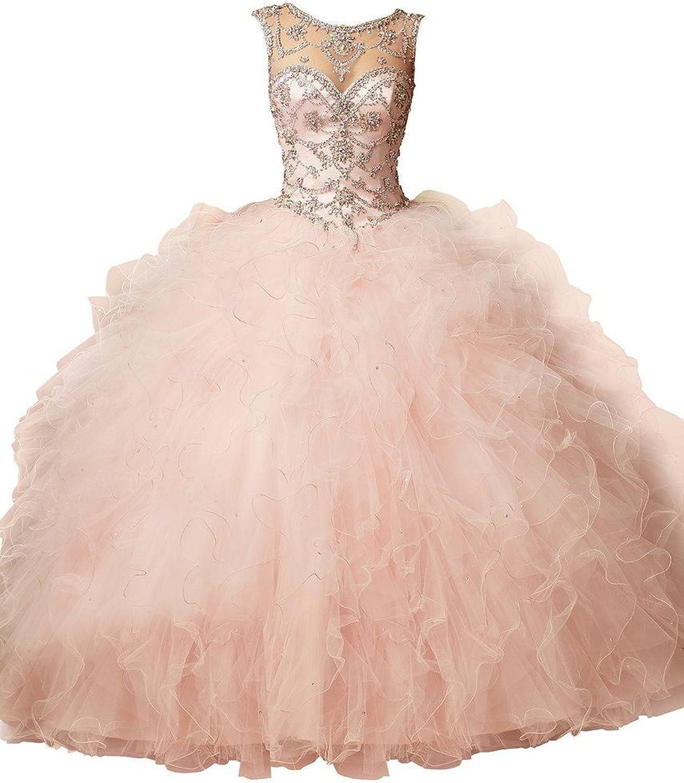 Dearta Women's Ball Gown Scoop Neck Tulle Quinceanera Dresses bluesh US 10
