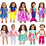 WONDOLL 18-inch American Doll Clothes and Accessories - 10 Sets Compatible with American-Doll-Clothes, Our-Generation-Dolls, My-Life-Dolls Outfits Christmas Birthday Gift for Little Girls