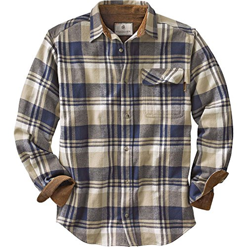 Legendary Whitetails Mens Buck Camp Flannel Shirt, Shale Plaid, Large