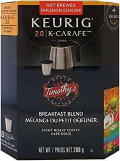 Timothys Breakfast Blend K-Carafe Packs For Keurig 2.0 Brewers (8 Count Breakfast Blend)