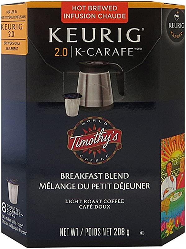 Timothys Breakfast Blend K Carafe Packs For Keurig 2 0 Brewers 8 Count Breakfast Blend