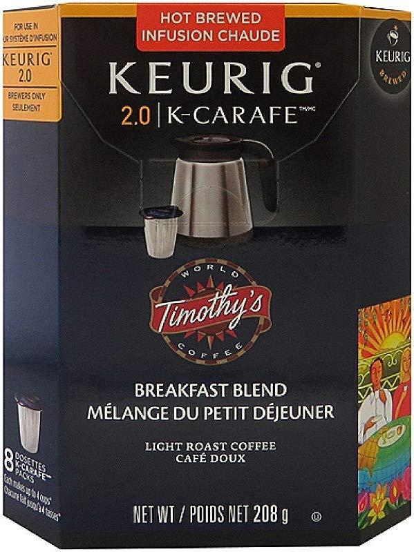 Timothys Breakfast Blend K Carafe Packs For Keurig 2 0 Brewers 8 Count Breakfast Blend