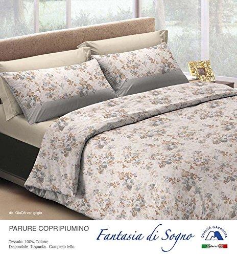 Smartsupershop Parure Housse de Couette 1 Place et Demi – Jade – Gris – en Coton Made in Italy MG