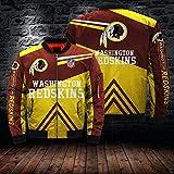 QWEIAS Chaqueta De Los Hombres De Ciclo Jersey-NFL Washington Redskins 3D Impreso Cremallera con Capucha Suéter Caliente Rugby Uniforme De Vuelo De Manga Larga Traje - Adolescente Regalo S