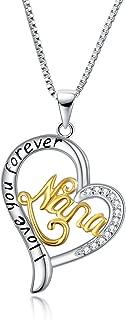 POPLYKE Sterling Silver Nana Necklace I Love You Nana Love Heart Pendant Necklace for Women Nana