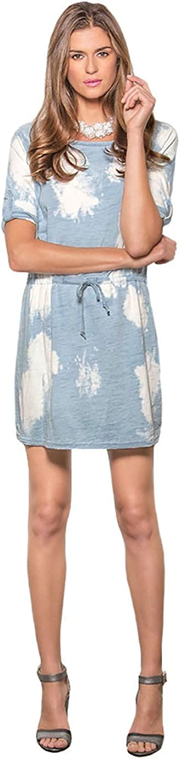 Standards & Practices Women's Light bluee Spotty Bleach Drawstring Denim Dress
