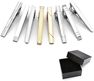 PiercingJ 7PCS//10PCS Epingle Pinces a Cravate Poli Poignet Col Manchette Chemise Clip Tie Acier Inoxydable Elegant Cadeau Homme Argent Noir