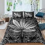 cannabis foglie copripiumino hippie marijuana erbaccia verde foglia consolatore copertura Trippy canapa copriletto copertura con 2 federe 3 pezzi biancheria da letto matrimoniale, grigio