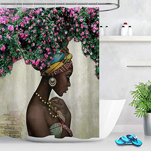 floolter Hiedra Verde y Cortina de Ducha de Pared de Piedra Vieja baño Natural Extra Largo Impermeable Lavable Tela de Nylon decoración de la bañera 180 * 200 cm