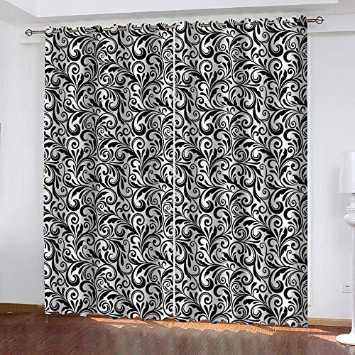 Gabapipa® Cortinas Opacas Termicas Aislantes Frio Y Calor Negro Y Flores 117x229cm...