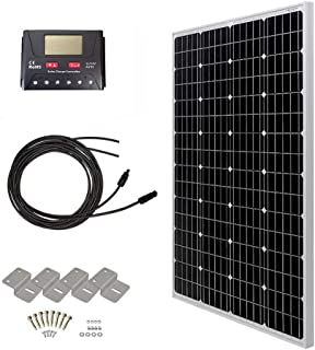 HQST 100 Watt 12 Volt Monocrystalline Solar Panel Kit with 30A PWM LCD Common Postive Solar Charge Controller, 20Ft 12AWG Solar Cable, Z-Brackets