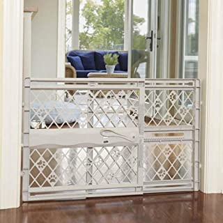 "North States Mypet Paws 42"" Portable Pet Gate: Expands & Locks In Place with No Tools. Pressure Mount. Fits 26""- 42"" Wide (23"" Tall, Light Gray)"