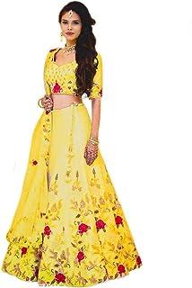 ddcd06b52a Kapil Fashion Women's Bangalori Silk Embroidery Work Semi-Stitched Lehenga  (Yellow, Free Size