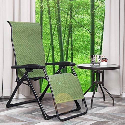 MWPO Zero Gravity Chairs Folding Zero Gravity Reclining Chair, Heavy Duty Rattan Recliner Sun Lounger for Beach Patio Garden Outdoor, Green, Support 150kg (Color:Green)