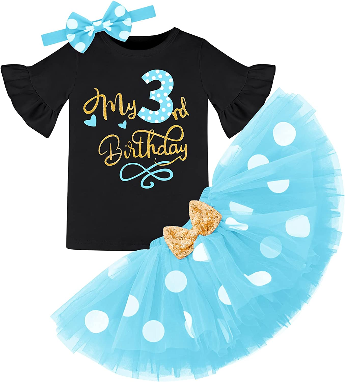 It's My 3rd Birthday Outfits Wild Three Party Clothing for Kids Polka Dots Shirt Sequin Tutu Skirt Mouse Princess Photo Shoot