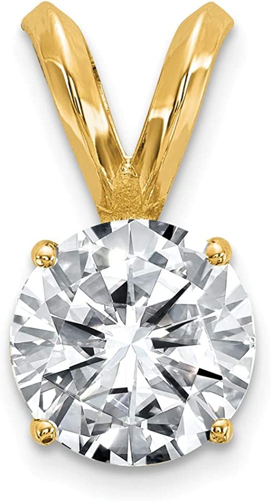 14k Yellow Gold 1.00ct. 6.5mm Round Moissanite Solitaire Pendant Charm - 12mm x 6mm